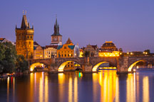 Charles bridge at night. Prague, Czech Republic. - Photo #29947