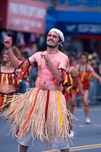 Man in grass skirt. Carnaval's grand parade, San Francisco, California. - Photo #1147