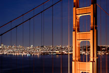 North tower and suspension cables of the Golden Gate Bridge. San Francisco, California, USA. - Photo #11747