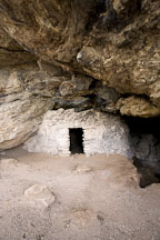 Sinagua cave dwelling constructed under a limestone overhang. Montezuma Well, Arizona. - Photo #17747