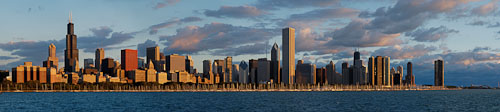 Panorama of the Chicago skyline at dawn. Chicago, Illinois, USA - Photo #10648