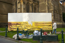 Painting outside St. Paul's Cathedral Melbourne, Australia. - Photo #1548