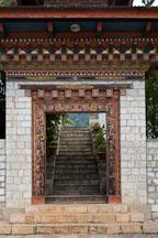 Doorway at Khamsum Yuelley Namgyal Chorten. Punakha Valley, Bhutan. - Photo #23349