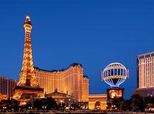 Eiffel tower replica at the Paris Las Vegas hotel. Las Vegas, Nevada, USA. - Photo #13305