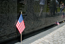 Vietnam Veteran's Memorial Wall and American flag. Washington, D.C., USA. - Photo #12705