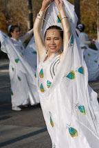 Asian woman in white dress. San Jose Holiday Parade. San Jose, California, USA. - Photo #5152