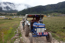 Farmer driving tractor in Phobjikha Valley, Bhutan. - Photo #23852