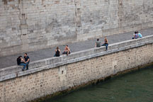 Sitting along the Seine river. Paris, France. - Photo #31352