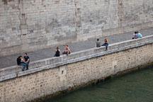 Sitting along the Seine river. Paris, France. - Photo #31352