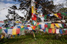 Prayer flags at Druk Wangyal Chorten. Dochula pass, Bhutan. - Photo #23153