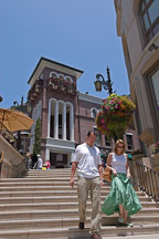Couple walking down spanish steps at Two Rodeo drive. Beverly Hills, California, USA - Photo #7354