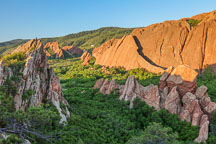 Dramatic red sandstone formations at Roxborough State Park, Colorado. - Photo #38054
