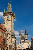 View of the Town Hall Tower and Tyn Church. Prague, Czech Republic. - Photo #30254
