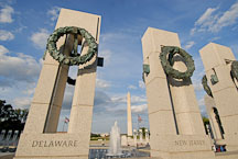 World War II Memorial and Washington Monument. Washington, D.C., USA. - Photo #12755
