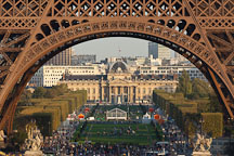 Champ de Mars through the Eiffel Tower. Paris, France. - Photo #30856