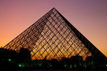 Louvre pyramid at sunset. Paris, France. - Photo #31656