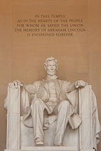 Epitaph above Abraham Lincoln. Lincoln Memorial, Washington, D.C. - Photo #29057