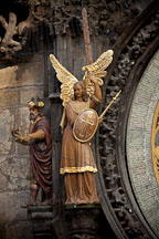 Figure of an Angel and Chronicler on the Astronomical Clock. Prague, Czech Republic. - Photo #30158