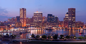 Baltimore's Inner Harbor at dusk. Baltimore, Maryland, USA. - Photo #4058