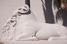 Kneeling rams at the Rosicrucian Egyptian Museum. San Jose, California. - Photo #21958
