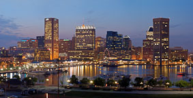 Baltimore's Skyline at night. Baltimore, Maryland, USA. - Photo #4059