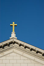 Golden cross on top of St. Joseph's Cathedral (Cathedral Basilica of St. Joseph). San Jose, California, USA. - Photo #4866