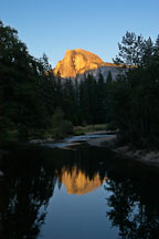 Half Dome and reflection in the Merced river. Yosemite National Park, California, USA. - Photo #4762