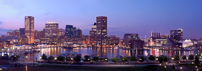 Inner harbor and skyline. Baltimore, Maryland, USA. - Photo #4017