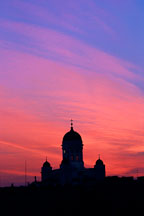 Helsinki's Cathedral with a red and blue sky. St. Nicholas' Church. Helsinki, Finland. - Photo #306