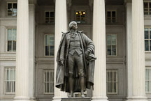 Statue of Albert Gallatin in front of the National Treasury Building. Washington, D.C., USA - Photo #12660