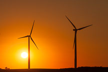 Two wind turbines at sunset. Story County, Iowa. - Photo #33060