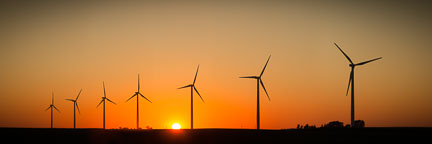 Sun setting on the Story County Wind Farm. - Photo #33062