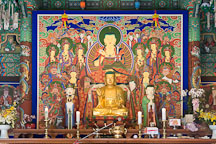 Altar with statues of Buddha at the Bongeunsa Temple in Seoul, South Korea. - Photo #21863