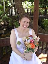 Kara Sjoblom with flower bookquet. - Photo #2164