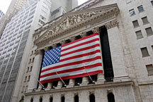 New York Stock Exchange and American flag. New York City, New York, USA. - Photo #13164