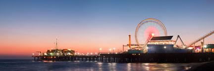 Santa Monica Pier and ferris wheel panorama. Santa Monica, California. - Photo #26764