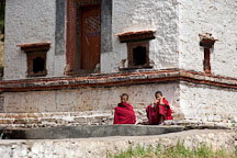 Two young buddhist monks at Wangdue Dzong. Wangdue, Bhutan. - Photo #23664