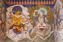 Wall mural at the entrance of Gangte Goemba. Phobjikha Valley, Bhutan. - Photo #23764