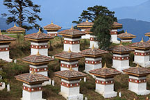 The 108 chorten sit on a knoll at Dochu La pass, Bhutan. - Photo #23165