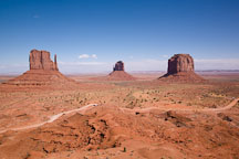 The Mittens and Merrick Butte. Monument Valley, Arizona. - Photo #18765