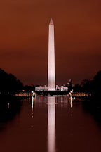 Washington Monument at night with a red sky. Washington, D.C., USA. - Photo #10965