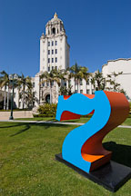 The number seven at Beverly Hills City Hall. Beverly Hills, California, USA. - Photo #7166
