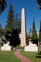 Obelisk with two sphinxes at Rosicrucian Park. San Jose, CA. - Photo #21966