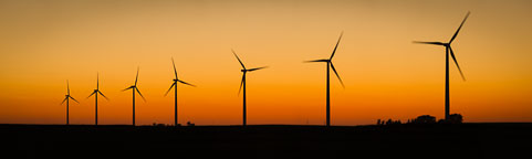 Panorama of wind turbines at sunset. Near Colo, Iowa. - Photo #33066