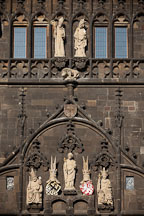 Sculptures of Saint Vitus, Charles IV and Wenceslas IV on the Old Town Bridge Tower. Prague, Czech Republic. - Photo #30166