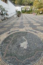 Crane and bat mosaic. Kowloon walled city park. Hong Kong. - Photo #15567