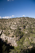 Cliff dwellings can be seen on the canyon walls. Walnut Canyon, Arizona. - Photo #17868