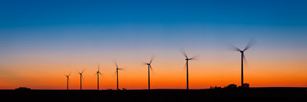 Panorama of wind turbines at sunset.. - Photo #33068