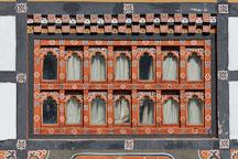 Windows in the distinctive Bhutanese architectural style. Thimphu, Bhutan. - Photo #22368