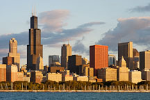 Chicago skyline in the early morning light. Chicago, Illinois, USA. - Photo #10669